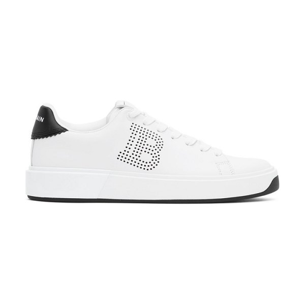 Balmain white and black perforated b-court sneakers in gab wh,blk