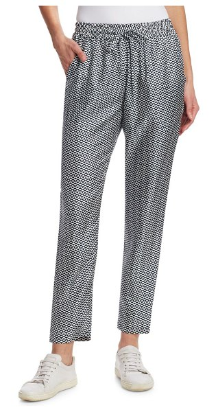 Barbara Lohmann bianca print silk pants in zigzag - Geometric print adorns silk pants. Elasticized...