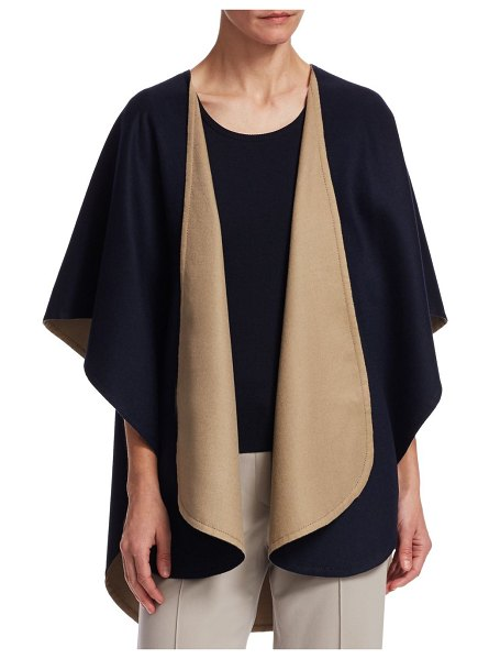 BARBARA LOHMANN flash doubleface cash wrap cardigan in navy honey - Cardigan is crafted with cashmere and silk. Shawl...