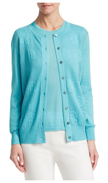 BARBARA LOHMANN gill silk-blend pointelle cardigan in laguna - Lightweight button-up cardigan with floral and pointelle...