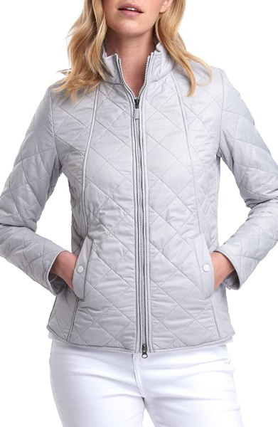 Barbour backstay diamond quilted jacket in ice white/ ice white
