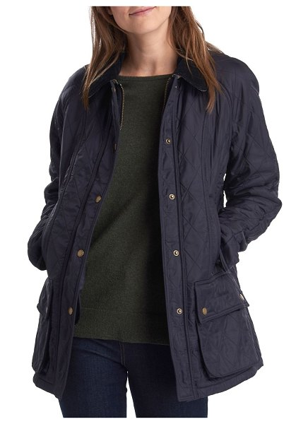 Barbour Beadnell Diamond Quilted Coat in navy
