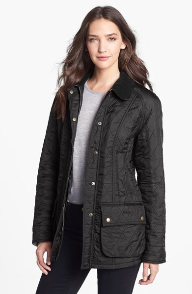 Barbour beadnell quilted jacket in black/ black
