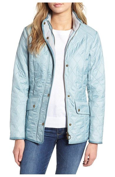 Barbour 'cavalry' quilted jacket in light aqua