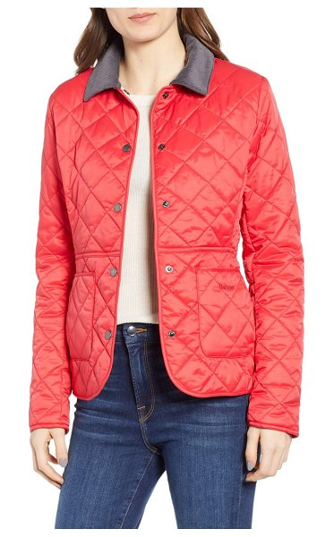 Barbour deveron quilted jacket in pomegranate - A corduroy collar punctuates this streamlined,...