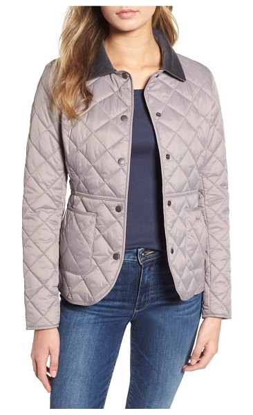 Barbour deveron quilted jacket in zinc/ zinc - A corduroy collar punctuates this streamlined,...