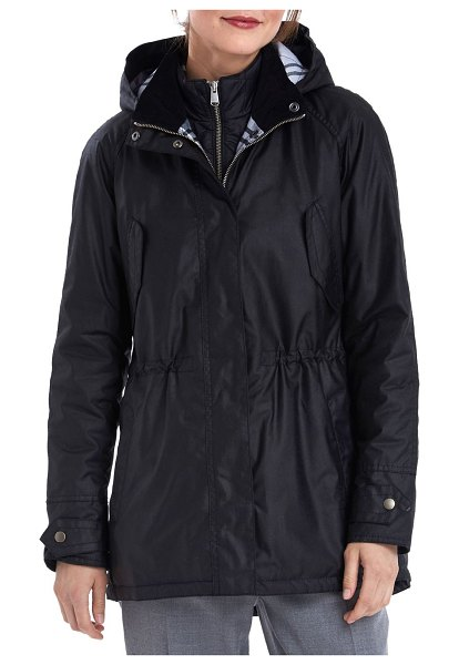 Barbour Heath Wax Cotton-Blend Hooded Jacket in black