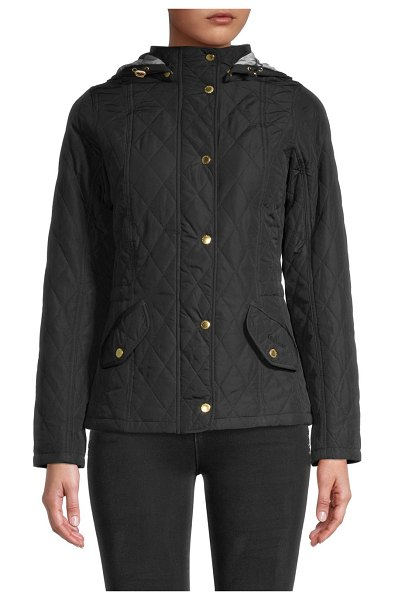 Barbour Millfire Quilted Hooded Jacket in navy
