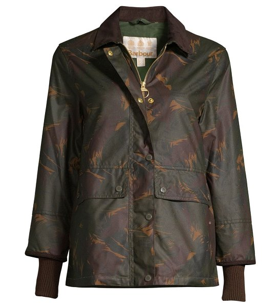 Barbour modern country feather tawny waxed jacket in feather duffle bag