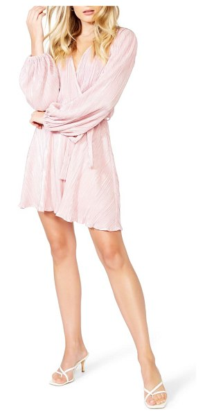 Bardot bellissa pleated long sleeve faux wrap dress in light pink shine
