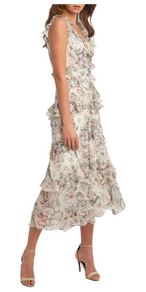 Bardot nelly floral print midi dress in ivory floral