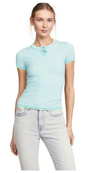 Barrie henley top in turquoise