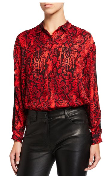ba&sh Susie Animal-Print Button-Down Top in rouge