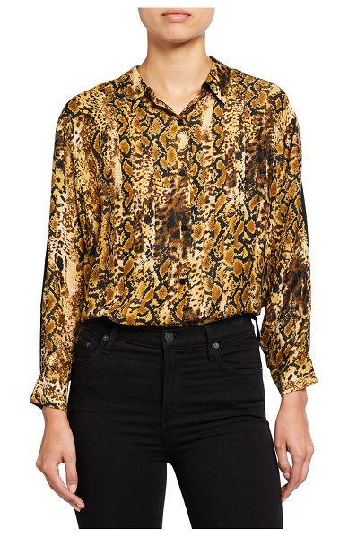 ba&sh Susie Animal-Print Button-Down Top in ocre