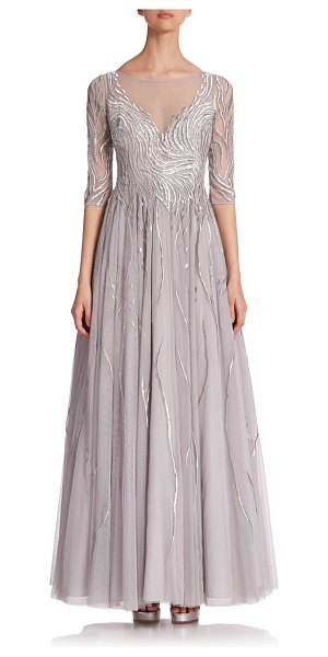 Basix Black Label embroidered illusion gown in grey