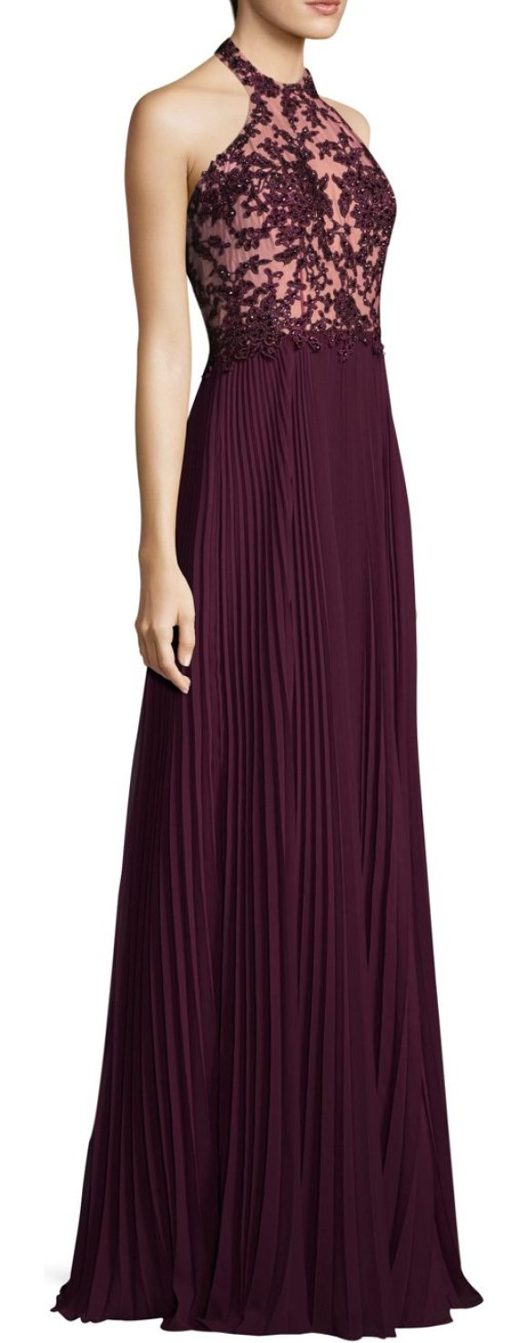 Basix Black Label pleated floral gown in wine - Pleated gown with beaded floral embroidery. High neck....