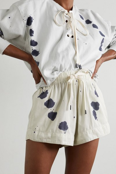 bassike printed cotton-twill shorts - off-white in white