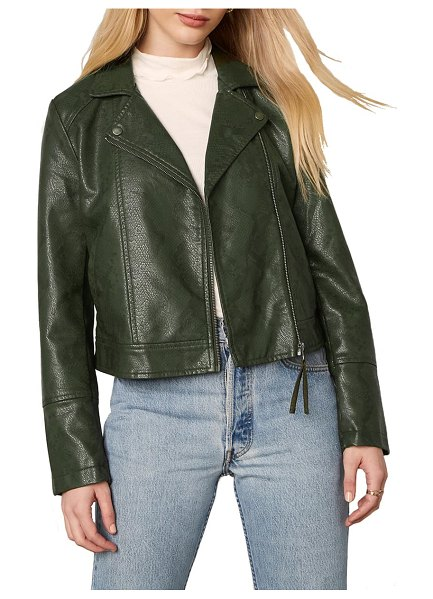 BB Dakota snake it or break it faux leather moto jacket in army green