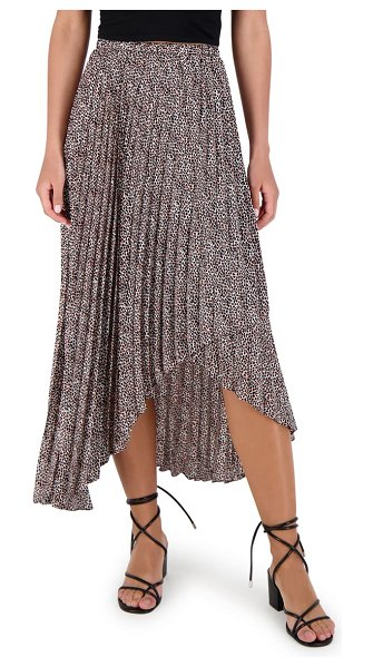 BB Dakota wild out animal print pleated high/low skirt in black