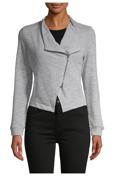 BB Dakota Zip-Front Knit Jacket in light heather grey
