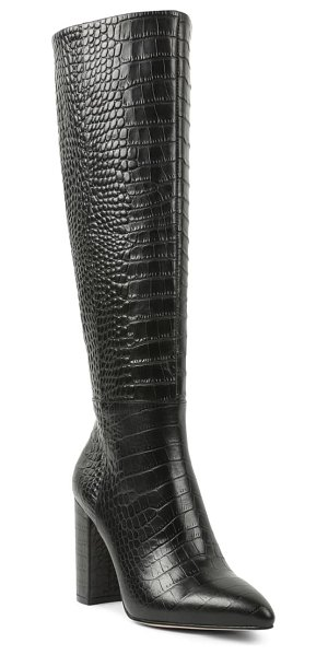 BCBGeneration baylee croc embossed knee high boot in black embossed croc print
