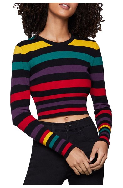 BCBGeneration Cropped Cotton Striped Sweater in red multi