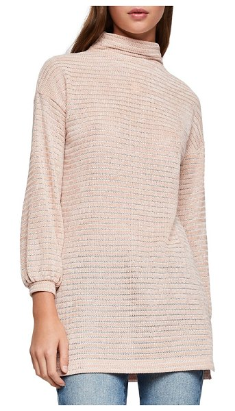 BCBGeneration Textured Funnelneck Velour Tunic in rose