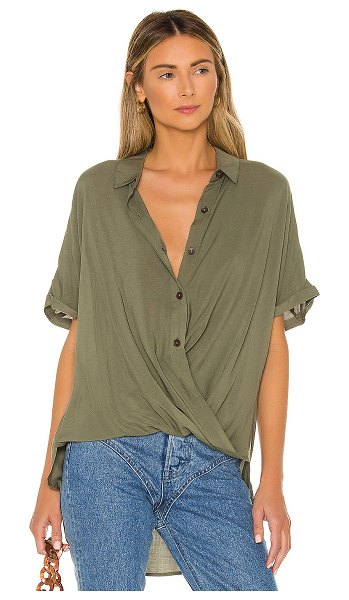 BCBGeneration wrap hem top in dusty olive