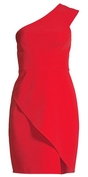 BCBGMAXAZRIA one-shoulder asymmetrical cocktail dress in jewel red