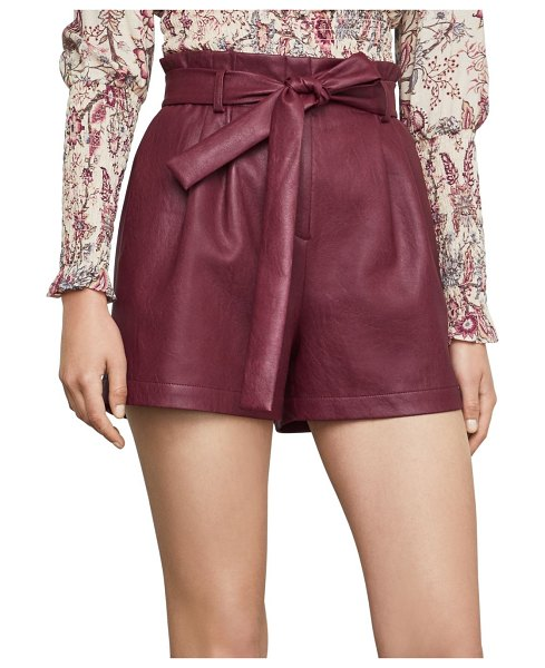 BCBGMAXAZRIA Pleated Faux Leather Shorts in deep red