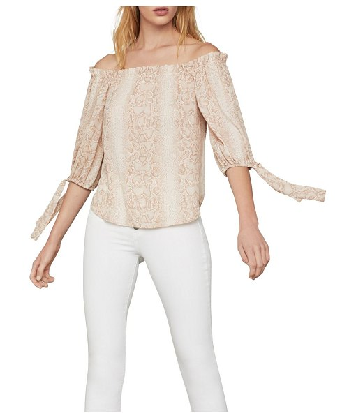 BCBGMAXAZRIA Python Off-The-Shoulder Blouse in bare pink