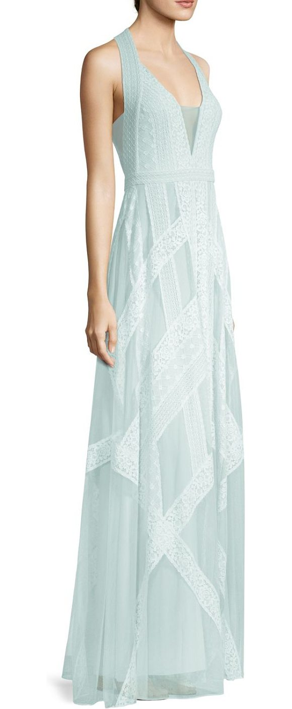 BCBGMAXAZRIA Raissa Striped Lace Halter Gown in Blue | Shopstasy