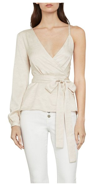 BCBGMAXAZRIA Single-Sleeve Wrap Top in beige