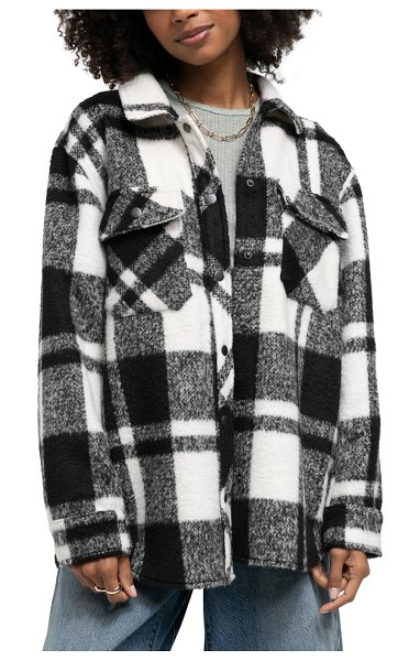 BDG Urban Outfitters leah plaid shirt jacket in multi