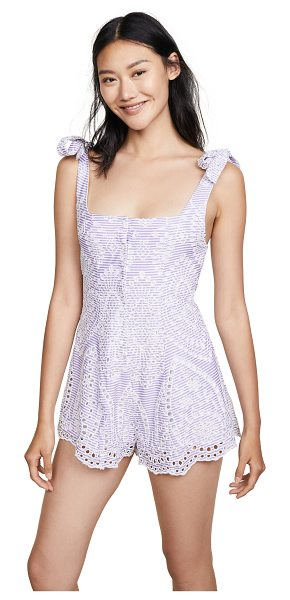 Beach Riot zoey romper in eyelet - Fabric: Eyelet Stripe pattern Swim cover-up romper...