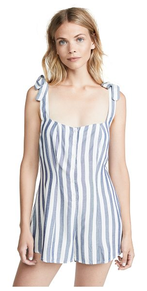 Beach Riot zoey romper in blue/white stripe - Fabric: Poplin Stripe pattern Swim cover-up romper...