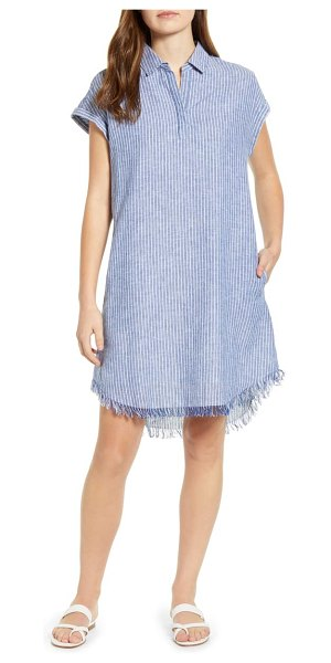 beachlunchlounge amalie fringe hem linen & cotton dress in ultra blue