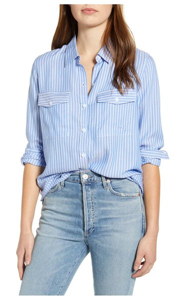 beachlunchlounge frankie stripe button-up blouse in mykonos