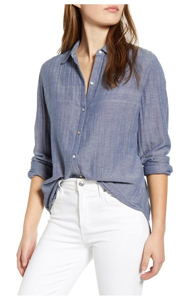 beachlunchlounge james chambray cotton double cloth shirt in indigo chambray