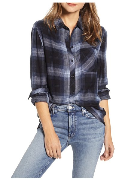 beachlunchlounge plaid button-up shirt in night sky