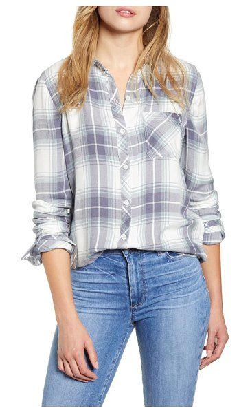 beachlunchlounge plaid button-up shirt in pewter