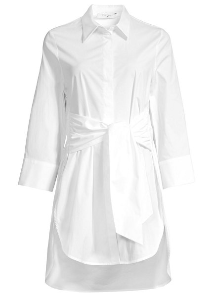 Beatrice B high-low poplin blouse in bianco