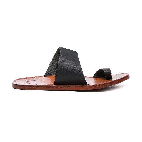 Beek Leather Finch Sandals in black - Vegetable tanned leather upper and sole.  Made in Mexico.