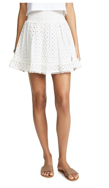 Bell emma skirt in white - Fabric: Eyelet Smocked elastic waist Pleated detailing...