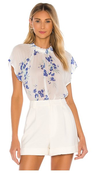 Bella Dahl ruffle neck raglan top in iris