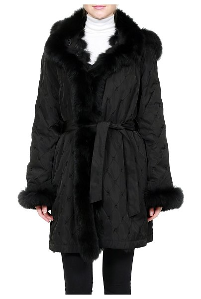 Belle Fare Fox Fur Reversible Quilted Silk Hooded Jacket in black