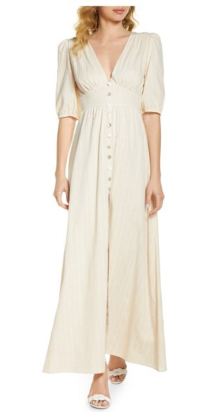 BELLEVUE THE LABEL bianca button front maxi dress in cream