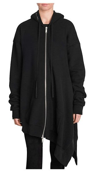 Ben Taverniti Unravel Project asymmetrical terry hoodie in black - The asymmetrical hem of this oversize hoodie exudes...
