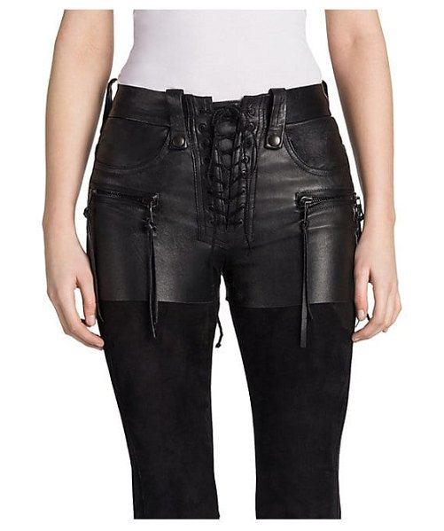 Ben Taverniti Unravel Project lace-up leather shorts in black - Crafted in Italy, Ben Taverniti Unravel Project's...