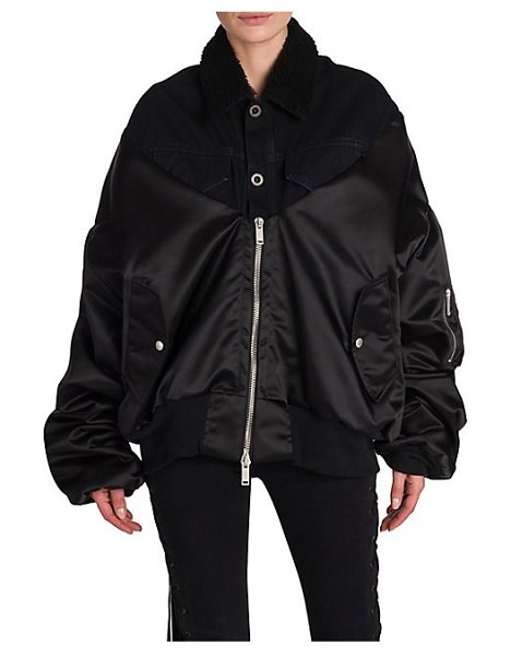 Unravel Project shearling hybrid bomber jacket in black - From the Saks IT LIST STATEMENT OUTERWEAR From sleek and...